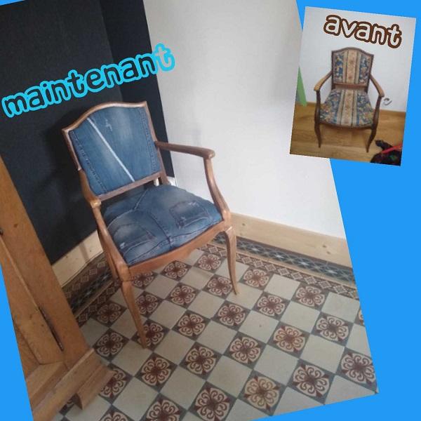 Relooking fauteuil chaise en jean